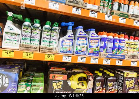 Miami Florida The Home Depot chain retailer home improvement hardware pest control pesticide chemicals bottles sprays Black Flag - Stock Photo