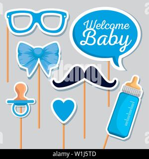 chat bubble message with feeding bottle and pacifier - Stock Photo