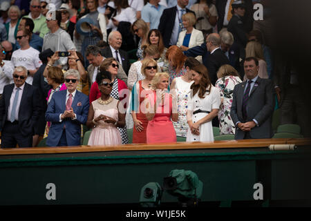 London, UK. 09th Apr, 2019. LONDON, ENGLAND - JULY 02: Catherine, Duchess of Cambridge (C) Gillian Brook (L) and Wimbledon Chairman Philip Brook as she attends day 2 of the Wimbledon Tennis Championships at the All England Lawn Tennis and Croquet Club on July 02, 2019 in London, England. People: Gillian Brook, Catherine, Duchess of Cambridge, Philip Brook Credit: Storms Media Group/Alamy Live News - Stock Photo