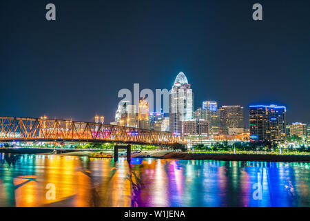 Cincinnati Ohio Skyline View From Newport Kentucky - Stock Photo