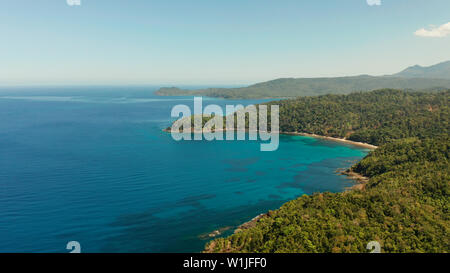 aerial view coastline of tropical island with coral reef and blue lagoon. Palawan, Philippines. tropical landscape. Seascape island and clear blue water. tropical landscape, travel concept - Stock Photo