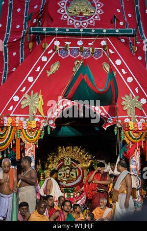 26-jul-2007 Suna Vesha or Golden Attire of Lord Shri balbhdra in rath yatra puri Orissa INDIA - Stock Photo