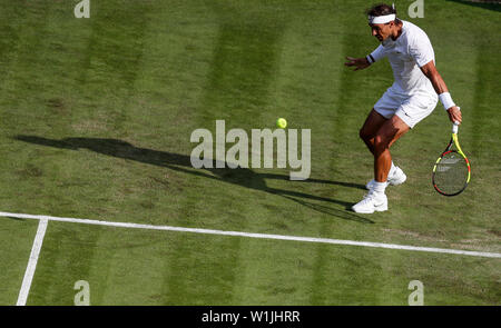 London, Britain. 2nd July, 2019. Rafael Nadal of Spain competes during the men's singles first round match with Yuichi Sugita of Japan at the 2019 Wimbledon Tennis Championships in London, Britain, July 2, 2019. Credit: Han Yan/Xinhua/Alamy Live News - Stock Photo