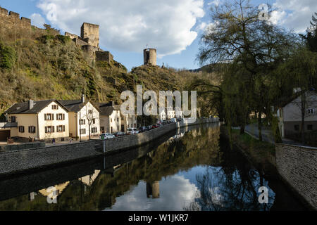 Romantic village by the river.Sauer, Luxembourg - Stock Photo