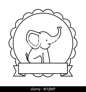 lace with cute little elephant character - Stock Photo