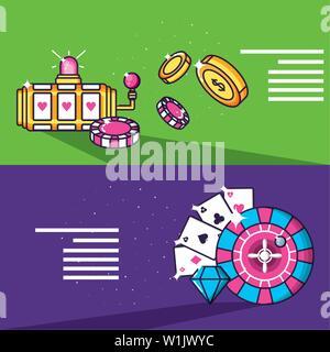 slot machine with set icons casino game vector illustration design - Stock Photo