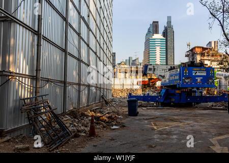 Bangkok, Thailand - April 12, 2019: Construction works in central Bangkok - Stock Photo