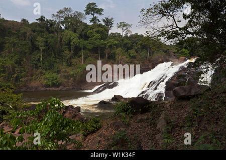 Bumbuna Falls on rapids of River Rokel near Bumbuna village in bush amongst lush vegetation of rain forest, Sierra Leone - Stock Photo