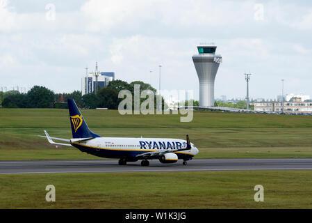 Ryanair Sun Boeing 737-8AS taking off at Birmingham Airport, UK (SP-RSP) - Stock Photo