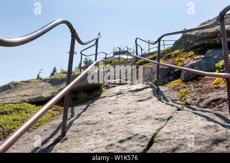 Steps at the top of Whiteface mountain in the Adirondack State Park, New York, USA. - Stock Photo
