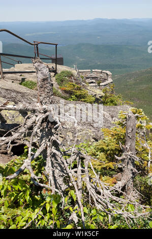 Railings at the top of Whiteface mountain in the Adirondack State Park, New York, USA. - Stock Photo