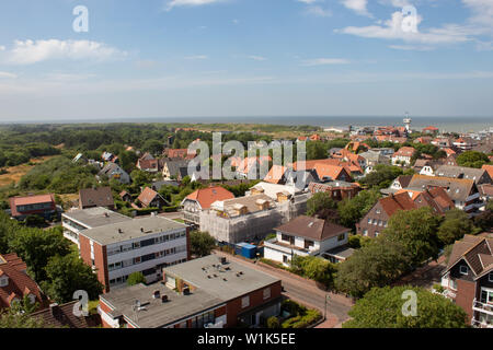 Aerial view of the island of Wangerooge in Germany as seen from the old lighthouse - Stock Photo