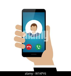 person calling with smartphone avatar isolated on white background vector illustration EPS10 - Stock Photo