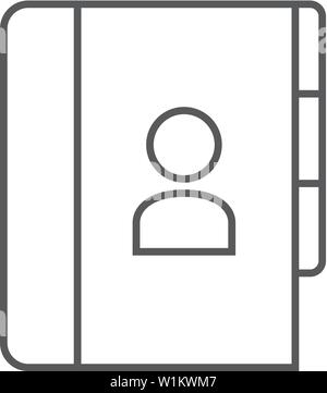 Address book icon in thin outline style  Contac phone list