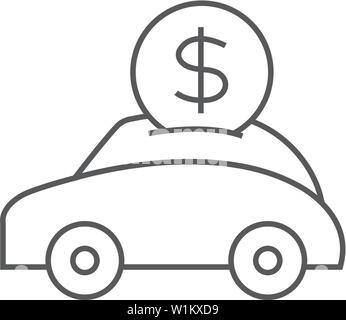 Car piggy bank icon in thin outline style. Saving kids banking car automotive automobile - Stock Photo