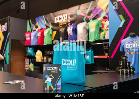 COLOGNE, GERMANY - JUN 28th 2019:  Impressions from CCXP Cologne: Merchandise Booth - Stock Photo