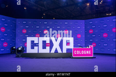 COLOGNE, GERMANY - JUN 28th 2019: Impressions from CCXP Cologne: Logo & Red Carpet Area - Stock Photo