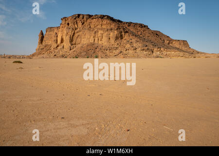Jebel Berkal close to the Nubian pyramids in Sudan - Stock Photo