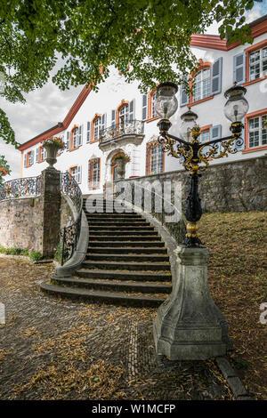 Schloss Buergeln Castle and rose garden, Obereggenen, Schliengen, Baden-Wuerttemberg, Germany - Stock Photo