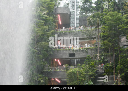 Viewing point in Jewel Changi Airport to see the waterfall, Singapore. - Stock Photo