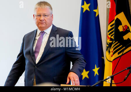 Berlin, Germany. 03rd July, 2019. Bruno Kahl, President of the Federal Intelligence Service, leaves the lectern after his speech at the opening ceremony of the Master's programme 'Intelligence and Security Studies' for secret service employees at the headquarters of the Federal Intelligence Service (BND). Credit: Christoph Soeder/dpa/Alamy Live News Stock Photo