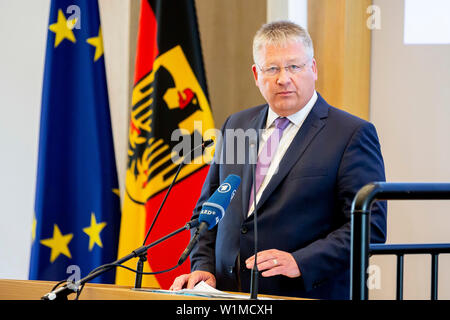 Berlin, Germany. 03rd July, 2019. Bruno Kahl, President of the Federal Intelligence Service, speaks at the opening ceremony of the Master's programme 'Intelligence and Security Studies' for secret service employees at the headquarters of the Federal Intelligence Service (BND). Credit: Christoph Soeder/dpa/Alamy Live News Stock Photo