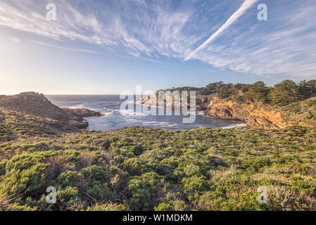 View of Headland Cove and coastline. Point Lobos State Reserve, Carmel, California, United States. - Stock Photo