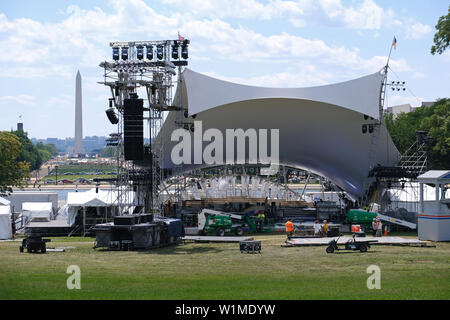 Work is underway to set up stages and scaffolding in front of the U.S. Capital on June 30, 2019, ahead of the 4th of July event 'A Capital Fourth.' - Stock Photo