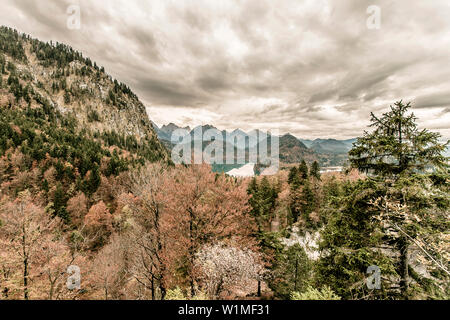 Lake Alpsee in Autumn, view from above Neuschwanstein Castle, Allgaeu, Fuessen, Bavaria, Germany - Stock Photo