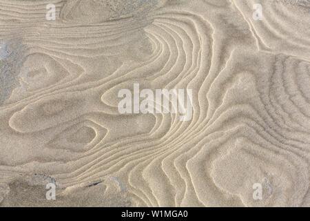 pattern in sand, sandy beach, Juist Island, Nationalpark, North Sea, East Frisian Islands, National Park, Unesco World Heritage Site, East Frisia, Low - Stock Photo