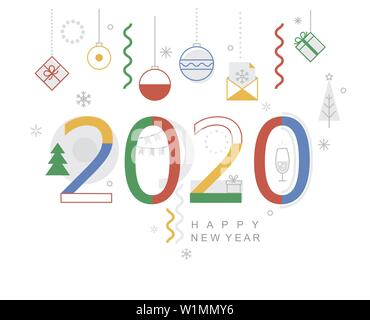 2020 new year minimal banner. Modern design card, poster with geometric shapes, christmas balls and gifts, wishing happy holiday.Great for web, party. - Stock Photo