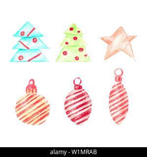 Pastel set with Christmas trees and toys. A collection of 3 Christmas tree decorations with diagonal stripes, one star and two Christmas trees. Isolat - Stock Photo