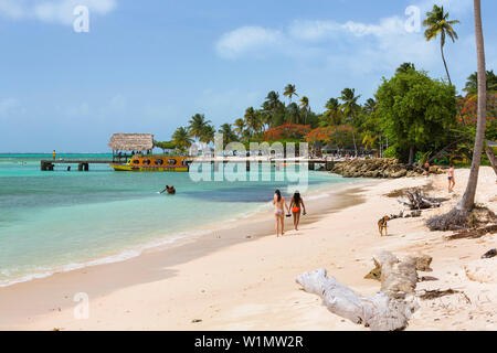 Sandy beach at Pigeon Point, Tobago, West Indies, South America - Stock Photo