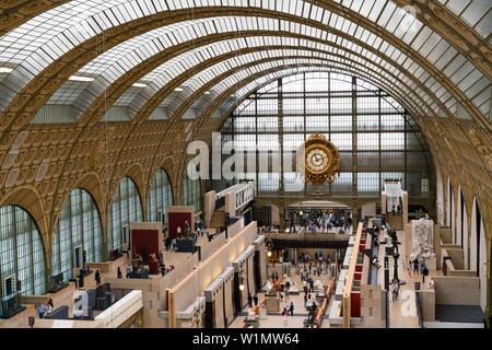 Paris, France - June 30, 2017: Interior view of Museum Orsay in Paris. - Stock Photo