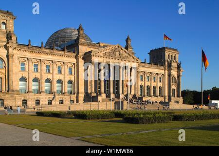 Berlin, Reichstag building with dome by Norman Forster, outdoors - Stock Photo