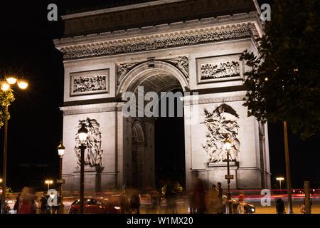 Paris, France - June 30, 2017: The Arc de Triomphe de l'Étoile at night long exposure. - Stock Photo