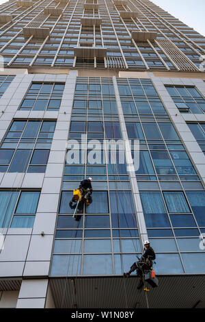 Cleaning windows on a high rise building using ropes and abseiling equipment on Al Reem Island in Abu Dhabi, UAE - Stock Photo