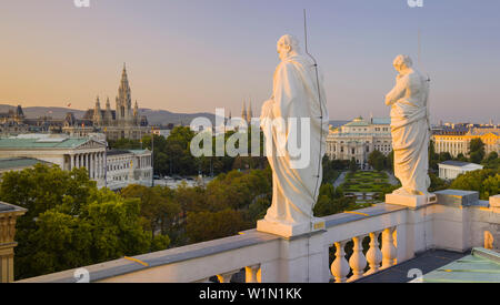 Statues at the Natural History Museum, Parliament, Town Hall, Ringstrasse, 1st District, Vienna, Austria - Stock Photo