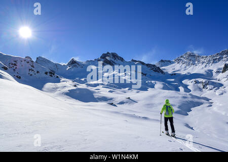 Woman back-country skiing ascending towards Rocca La Marchisa, Rocca La Marchisa, Valle Varaita, Cottian Alps, Piedmont, Italy - Stock Photo