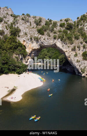 Kajaking on Ardeche river at Pont d'Arc, France, Europe - Stock Photo