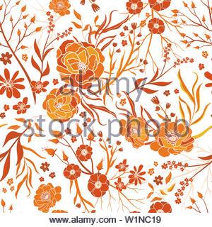 Beautiful hand drawnfall or summer floral seamless pattern, cute and elegant orange yellow backdrop, great for feminine fabrics, seasonal prints, back - Stock Photo