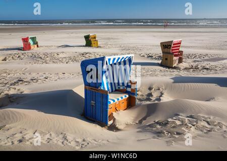 chairs on the beach, Langeoog Island, North Sea, East Frisian Islands, East Frisia, Lower Saxony, Germany, Europe - Stock Photo