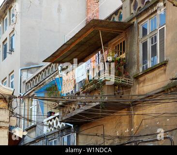 Not yet renovated quarter at Russe (Pyce) , River Danube , Bulgaria , Europe - Stock Photo
