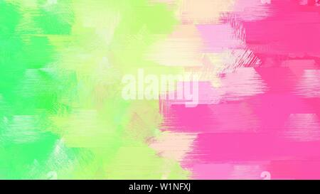 watercolor background with brushed hot pink, pale golden rod and pastel green color. abstract art illustration. use it as wallpaper or graphic element - Stock Photo