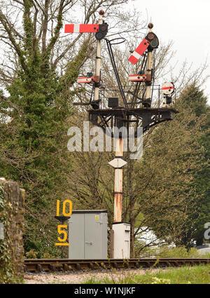 Semaphore signals at Buckfastleigh on the South Devon Railway. - Stock Photo