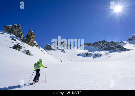 Woman back-country skiing ascending towards Colle di Vers, Rocca La Marchisa in the background, Colle di Vers, Valle Varaita, Cottian Alps, Piedmont, - Stock Photo