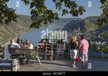 View over Oberwesel and the Rhine from restaurant Günderodehaus, Upper Middle Rhine Valley, Rheinland-Palatinate, Germany, Europe - Stock Photo