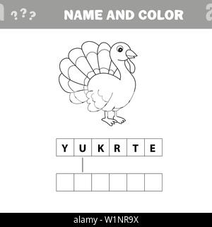 Black and White Cartoon Vector Illustration of Funny Turkey Farm Bird Animal for Coloring Book - Crossword puzzle - Stock Photo