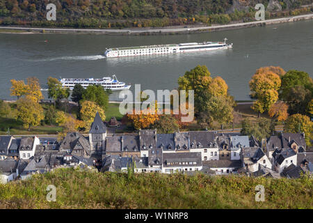 View from Burg Stahleck castle of Bacharach by the Rhine, Upper Middle Rhine Valley, Rheinland-Palatinate, Germany, Europe - Stock Photo