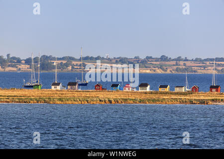 View from the harbour of beach huts at the beach of Ærøskøbing, Island Ærø, South Funen Archipelago, Danish South Sea Islands, Southern Denmark, Denma - Stock Photo